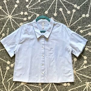 Zara Blue and White Boxy Button Up EUC Size S
